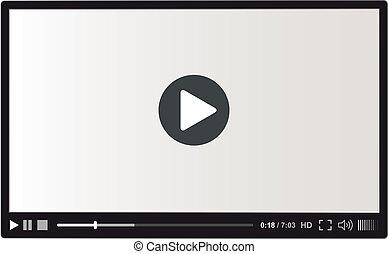 jugador, vector, vídeo, tela