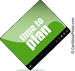 jugador video, para, tela, con, tiempo, al plan, palabras
