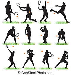 jugadores, 12, tenis, conjunto