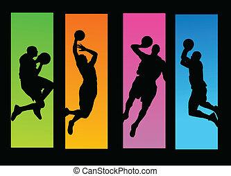 jugadores, baloncesto, ilustración