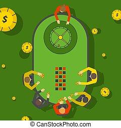 jugadores, casino, entretenimiento, juego, gente, apuestas, ...