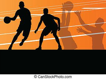 jugadores de baloncesto, activo, deporte, siluetas, vector, plano de fondo