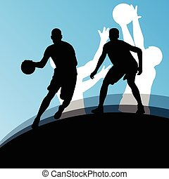 jugadores de baloncesto, activo, deporte, siluetas, vector,...