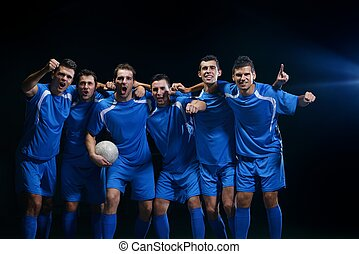 jugadores del fútbol, celebrar, victoria