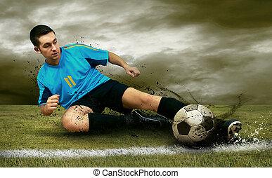 jugadores del fútbol, en, el, campo
