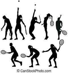 jugadores del tenis, siluetas