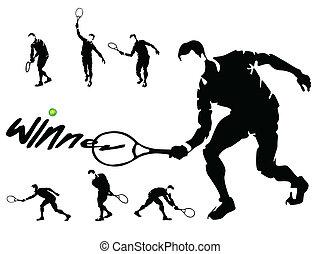 jugadores del tenis, siluetas, vector