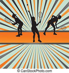 jugadores del tenis, siluetas, vector, plano de fondo