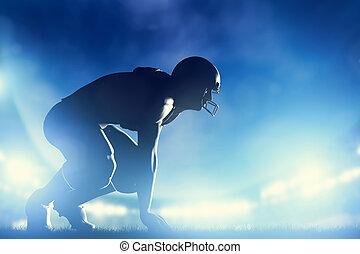 jugadores, game., fútbol, luces, norteamericano, estadio