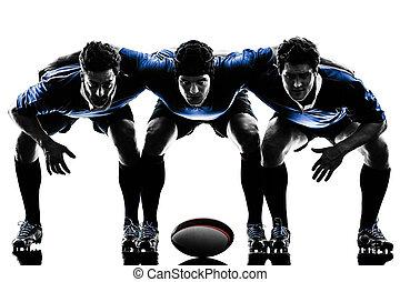 jugadores, hombres, silueta, rugby