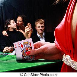 jugadores, póker, siniestro, grupo