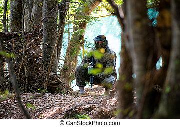 jugadores, paintball, esconda atrás, árbol