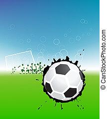 jugadores, pelota del fútbol, campo, fútbol