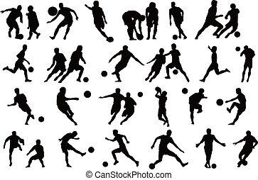 jugadores, s, futbol, silueta, deportes