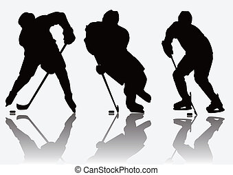jugadores, silueta, hockey, hielo