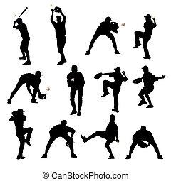 jugadores, siluetas, beisball