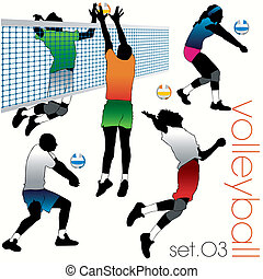 jugadores, siluetas, conjunto, voleibol