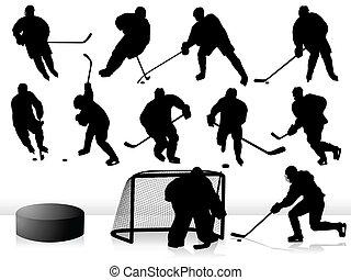 jugadores, siluetas, vector, -, hockey