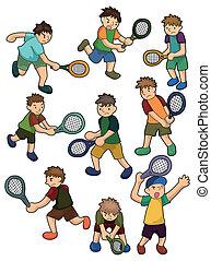 jugadores, tenis, caricatura, icono
