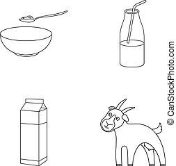 jugar a los bolos de, requesón, yogur, leche, paquete, goat., leche, conjunto, colección, iconos, en, contorno, estilo, vector, símbolo, ilustración común, web.