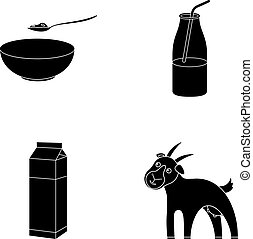 jugar a los bolos de, requesón, yogur, leche, paquete, goat., leche, conjunto, colección, iconos, en, negro, estilo, vector, símbolo, ilustración común, web.