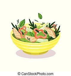 jugar a los bolos de, vegetal, ensalada, con, carne, el comer sano, concepto, vector, ilustración