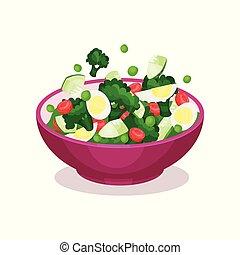 jugar a los bolos de, vegetal, ensalada, con, huevo, el comer sano, concepto, vector, ilustración
