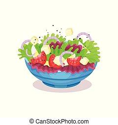 jugar a los bolos de, vegetal, ensalada, con, queso, el comer sano, concepto, vector, ilustración