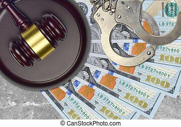 juge, 100, marteau, factures, police, menottes, nous, procès, judiciaire, concept, dollars, bribery., desk., ou, action éviter, impôt, tribunal