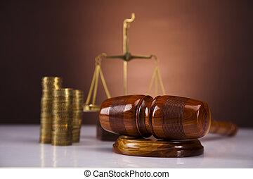 juge, argent, concept, marteau