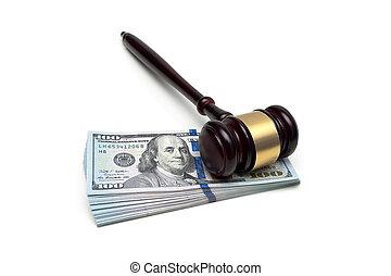 juge, argent, isolé, arrière-plan., marteau, blanc