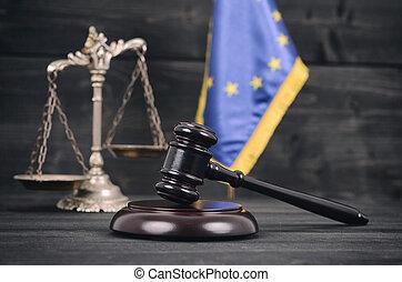 juge, balances, union, justice, arrière-plan., drapeau, marteau, bois, européen