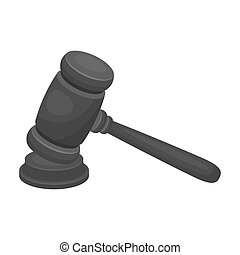 juge, bois, hammer., marteau, pour, deducing, les, verdict, à, les, criminal.prison, unique, icône, dans, monochrome, style, bitmap, symbole, stockage, illustration.
