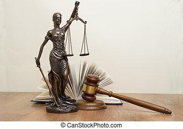 juge, bois, justice, derrière, livres, statue, table, marteau