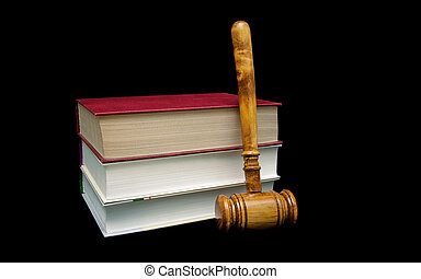 juge, bois, livres, arrière-plan noir, marteau