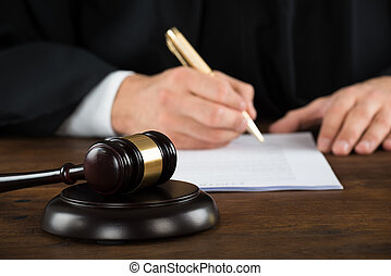 juge, bureau, documents, légal, écriture