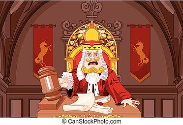 juge, cœurs, roi, marteau