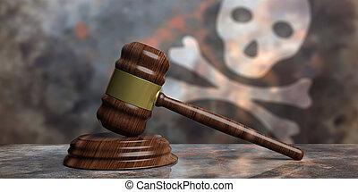 juge, crâne, enchère, illustration, arrière-plan., drapeau, marteau, ou, 3d