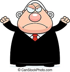 juge, fâché, dessin animé