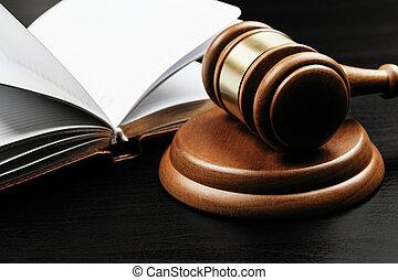 juge, fond, livre, ouvert, maillet, bois, brun