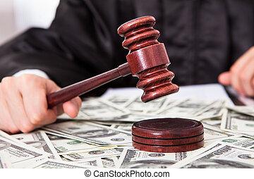 juge, frapper, dollar, maillet