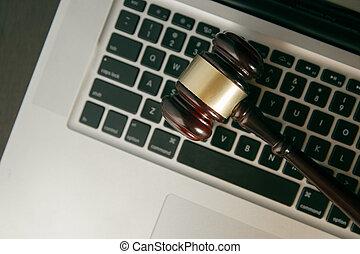 juge, héros, gavel.online, concept., enchère, en-tête, informatique, espace de travail, marteau, droit & loi, ou
