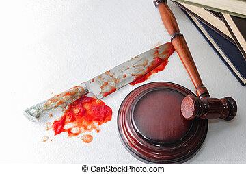 juge, hammer., justice, image, sanguine, fond, conceptuel, couteau aigu