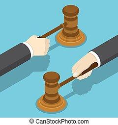 juge, homme affaires, isométrique, gavel., main