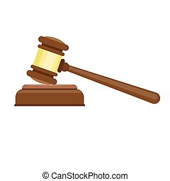 juge, icône, style, marteau, plat