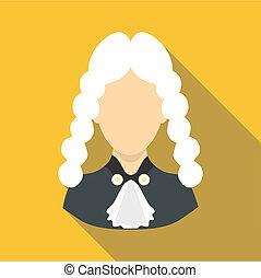 juge, icône, style, plat