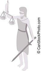 juge, icône, style, statue, isométrique