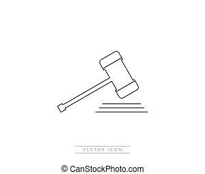 juge, icône, vecteur, logo, gabarit, marteau