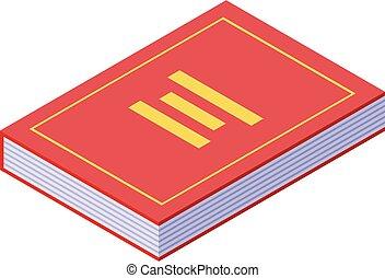 juge, isométrique, livre, icône, style