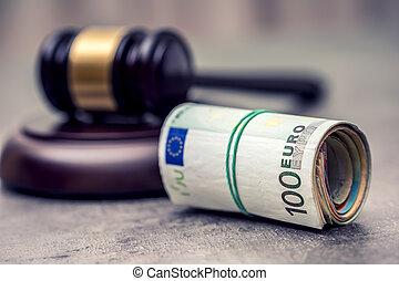 juge, justice, argent., tribunal, currency., billets banque., roulé, corruption, judiciary., marteau, représentation, euro, marteau, corruption, gavel.